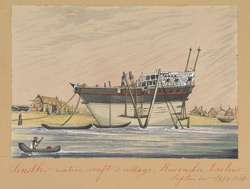 Country boat moored by a village in Karachi Harbour (Sind).  September 1851